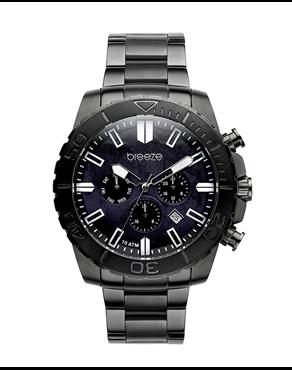 BREEZE Orbiter Dual Time Black Stainless Steel Bracelet 810842.4 a88f5a8d445