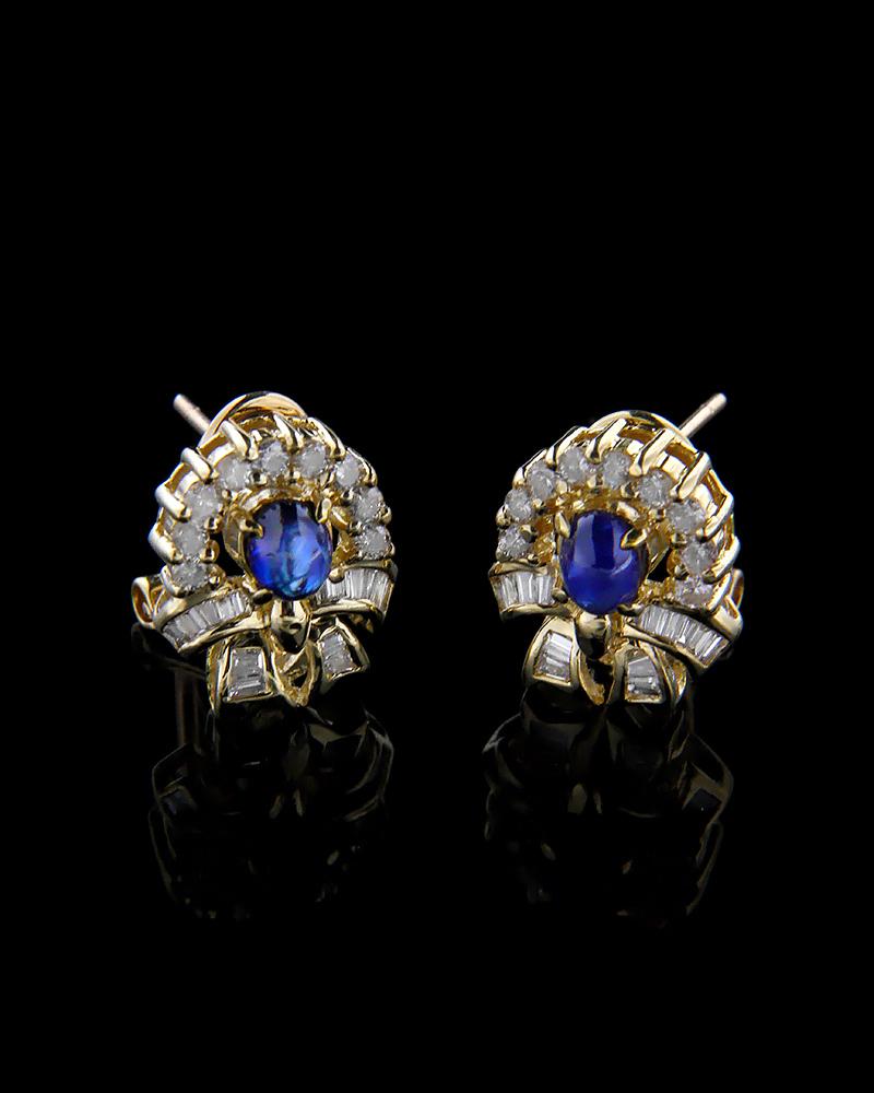 Σκουλαρίκια χρυσά Κ18 με Διαμάντια και Ζαφείρια   γυναικα σκουλαρίκια σκουλαρίκια χρυσά