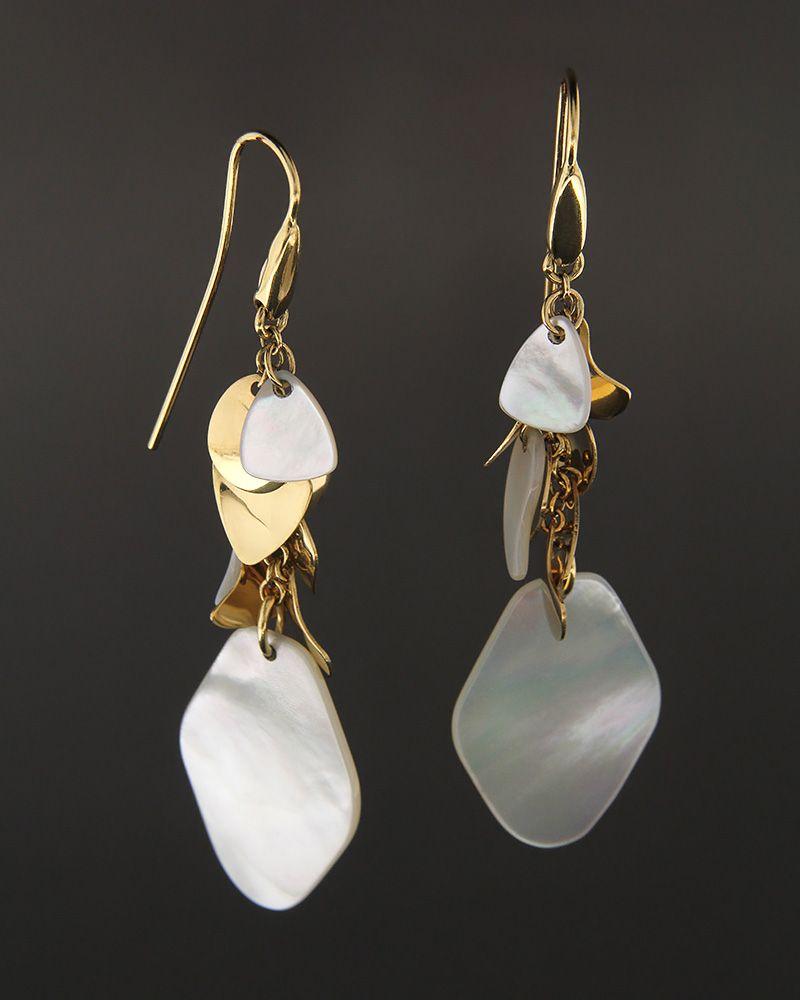 Σκουλαρίκια χρυσά Κ18 με mother of pearl   γυναικα σκουλαρίκια σκουλαρίκια fashion