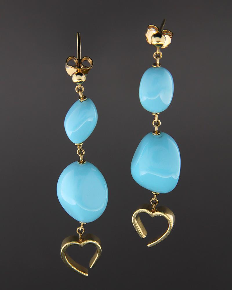 Σκουλαρίκια χρυσά Κ18 με τυρκουάζ   γυναικα σκουλαρίκια σκουλαρίκια ημιπολύτιμοι λίθοι