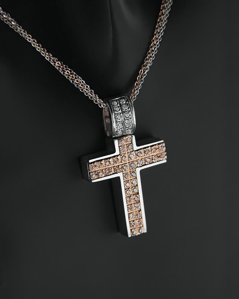 Σταυρός με αλυσίδα λευκόχρυσος και ροζ χρυσός Κ14 με ζιργκόν   κοσμηματα σταυροί βαπτιστικοί σταυροί για κορίτσι