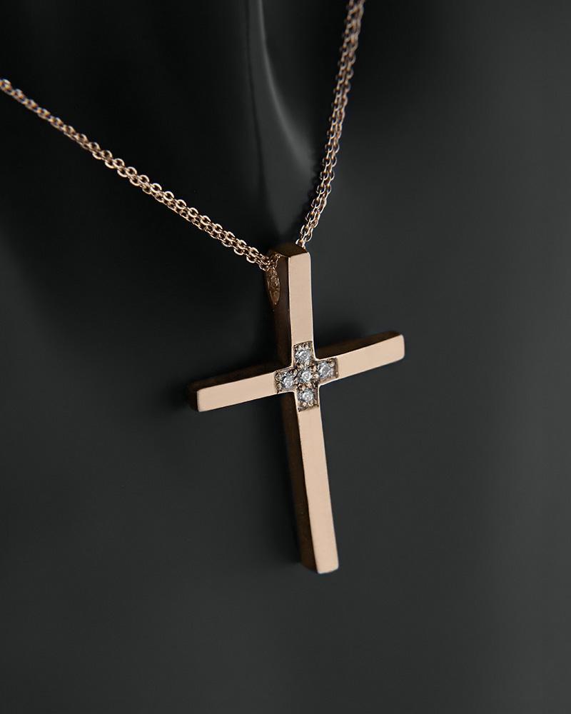 Σταυρός με αλυσίδα ροζ χρυσός Κ14 με ζιργκόν  44f58703afa