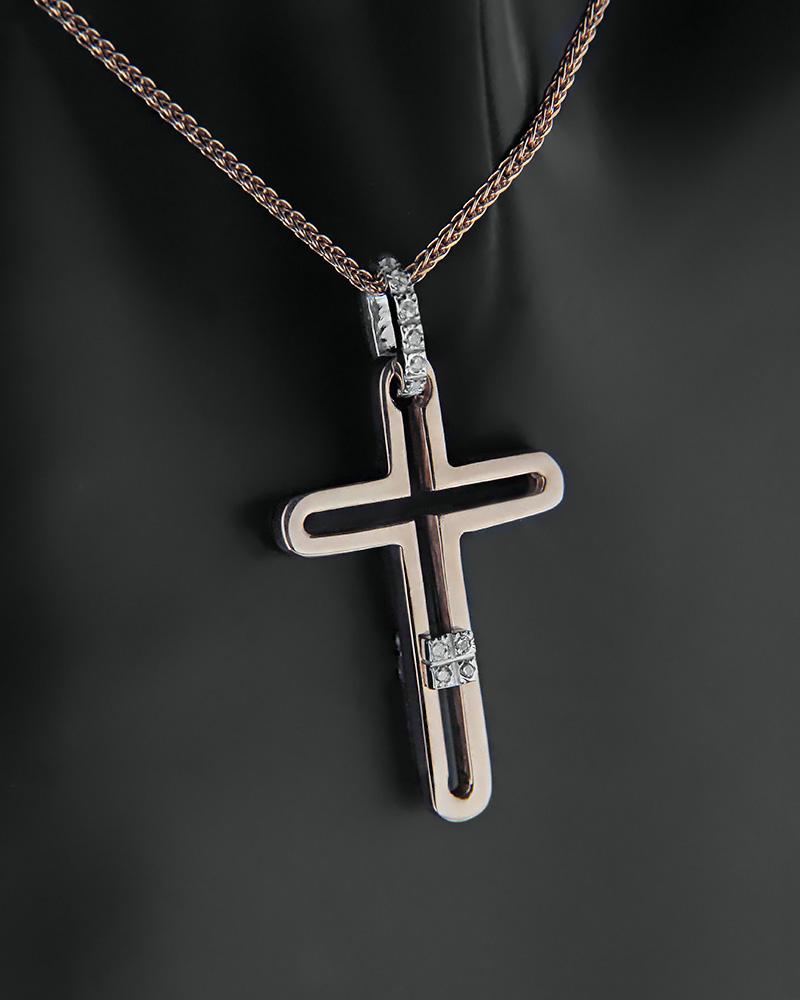 Σταυρός με αλυσίδα ροζ χρυσός και λευκόχρυσος Κ14 με ζιργκόν   παιδι βαπτιστικοί σταυροί βαπτιστικοί σταυροί για κορίτσι