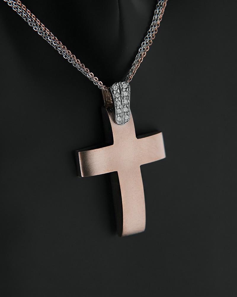 Σταυρός με αλυσίδα ροζ χρυσός και λευκόχρυσος Κ14 με ζιργκόν   κοσμηματα σταυροί βαπτιστικοί σταυροί για κορίτσι