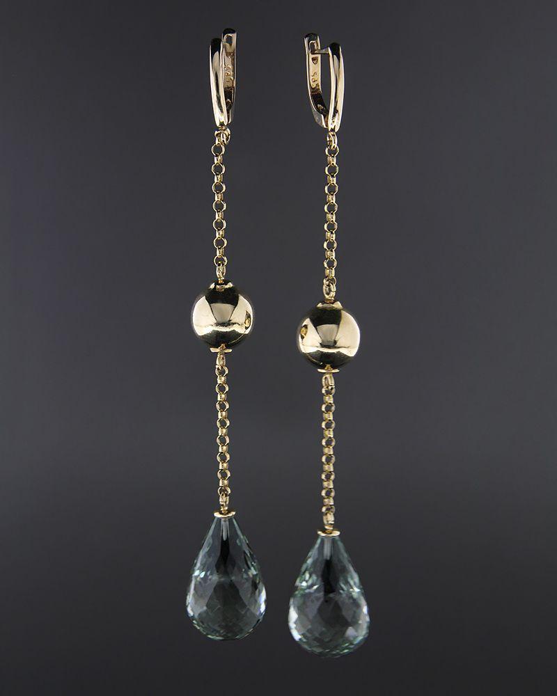 Σκουλαρίκια χρυσά Κ14 με Peridot   γυναικα σκουλαρίκια σκουλαρίκια ημιπολύτιμοι λίθοι