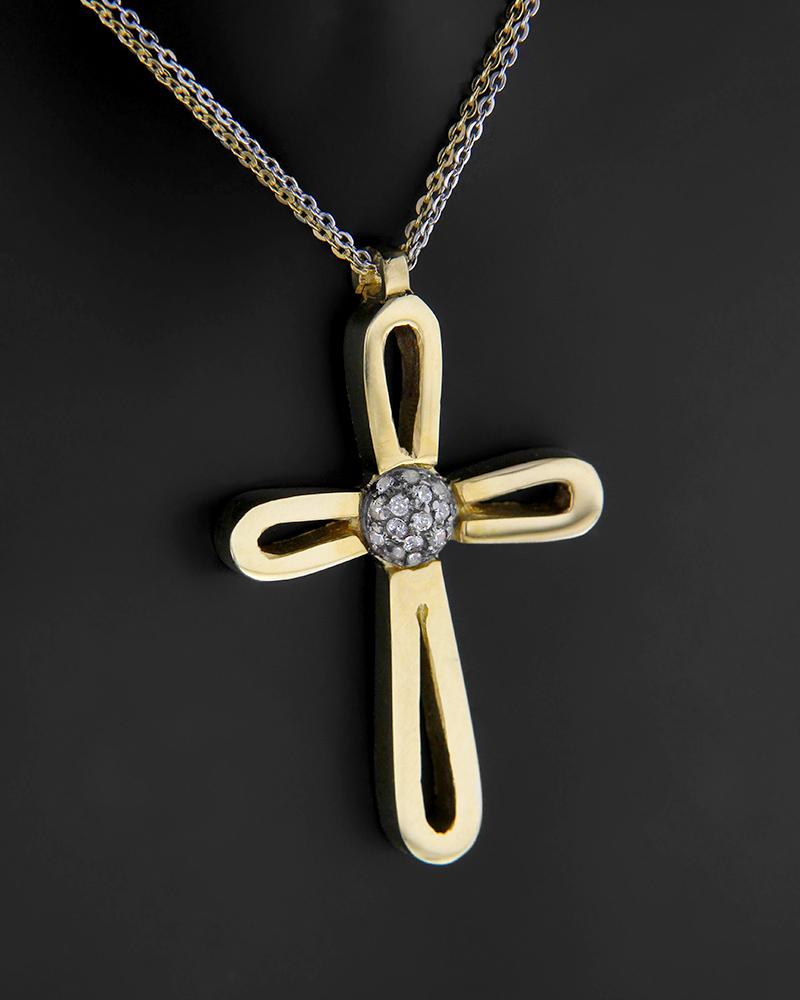 Σταυρός με αλυσίδα χρυσός και λευκόχρυσος Κ14 με ζιργκόν   κοσμηματα σταυροί βαπτιστικοί σταυροί για κορίτσι