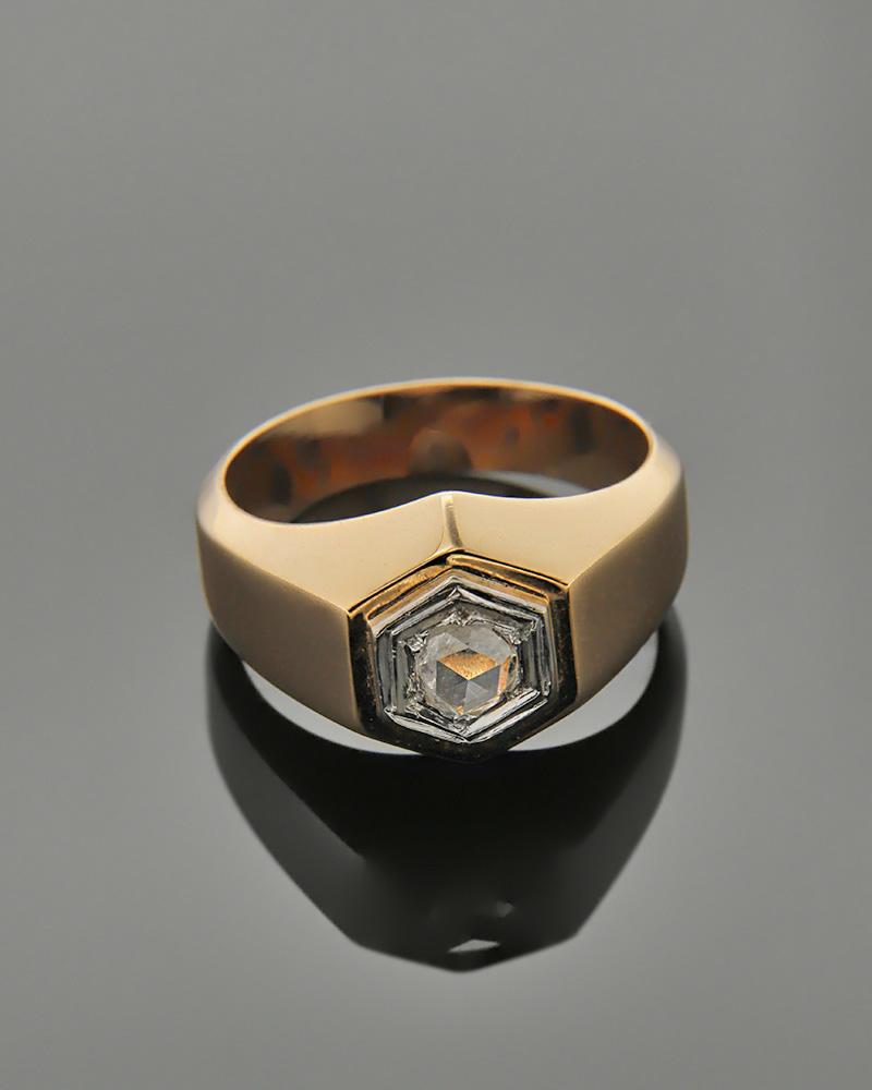 Δαχτυλίδι ροζ χρυσό Κ18 με Διαμάντι