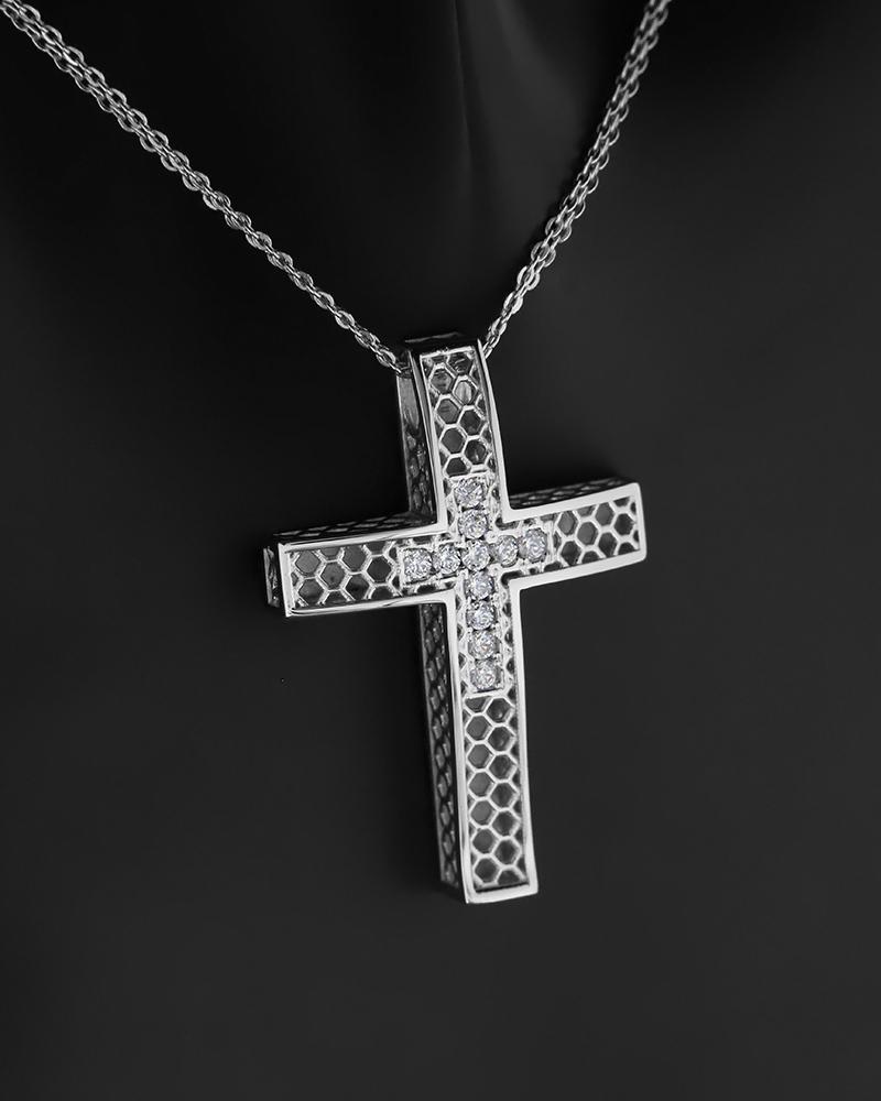 Σταυρός με αλυσίδα λευκόχρυσος Κ14 με ζιργκόν   παιδι βαπτιστικοί σταυροί βαπτιστικοί σταυροί για κορίτσι