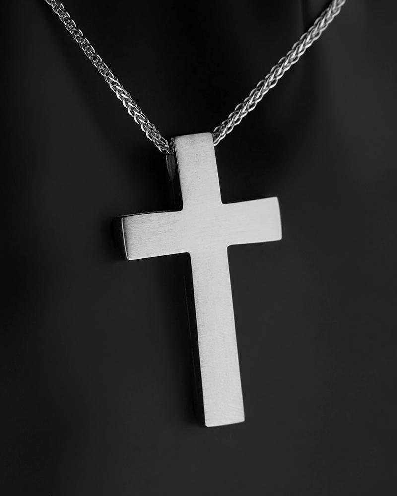 Σταυρός με αλυσίδα λευκόχρυσος και χρυσός Κ14   κοσμηματα σταυροί βαπτιστικοί σταυροί για αγόρι