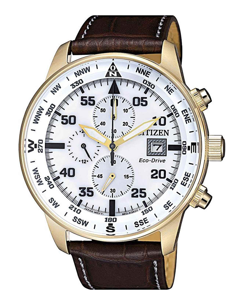 CITIZEN Eco-Drive Chronograph Brown Leather Strap CA0693-12A   brands citizen