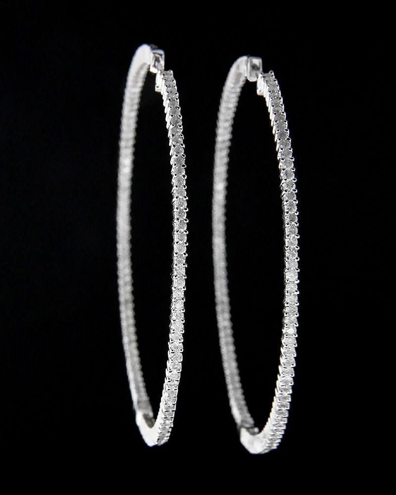 Σκουλαρίκια κρίκος λευκόχρυσα Κ18 με Διαμάντια
