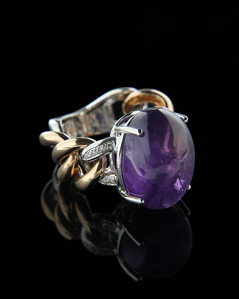Δαχτυλίδι ροζ χρυσό και λευκόχρυσο Κ18 με Διαμάντια και Αμέθυστο   γυναικα δαχτυλίδια δαχτυλίδια ροζ χρυσό