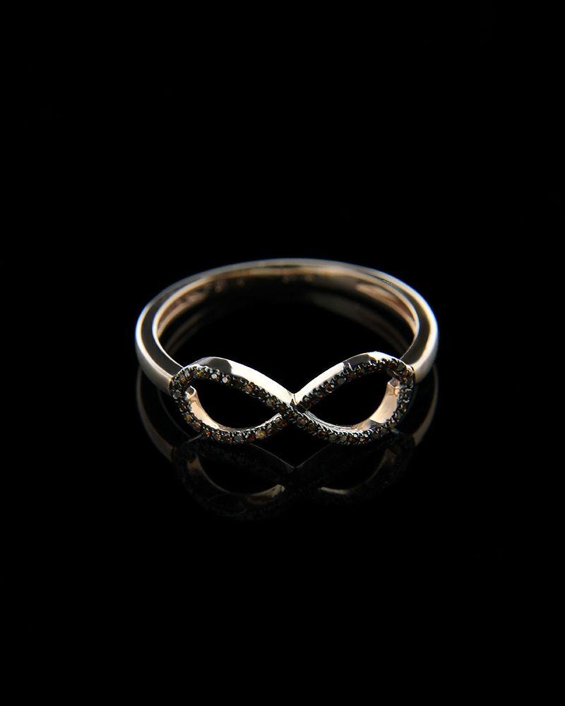 Δαχτυλίδι ροζ χρυσό Κ14 με Διαμάντια Brown   γυναικα δαχτυλίδια δαχτυλίδια ροζ χρυσό