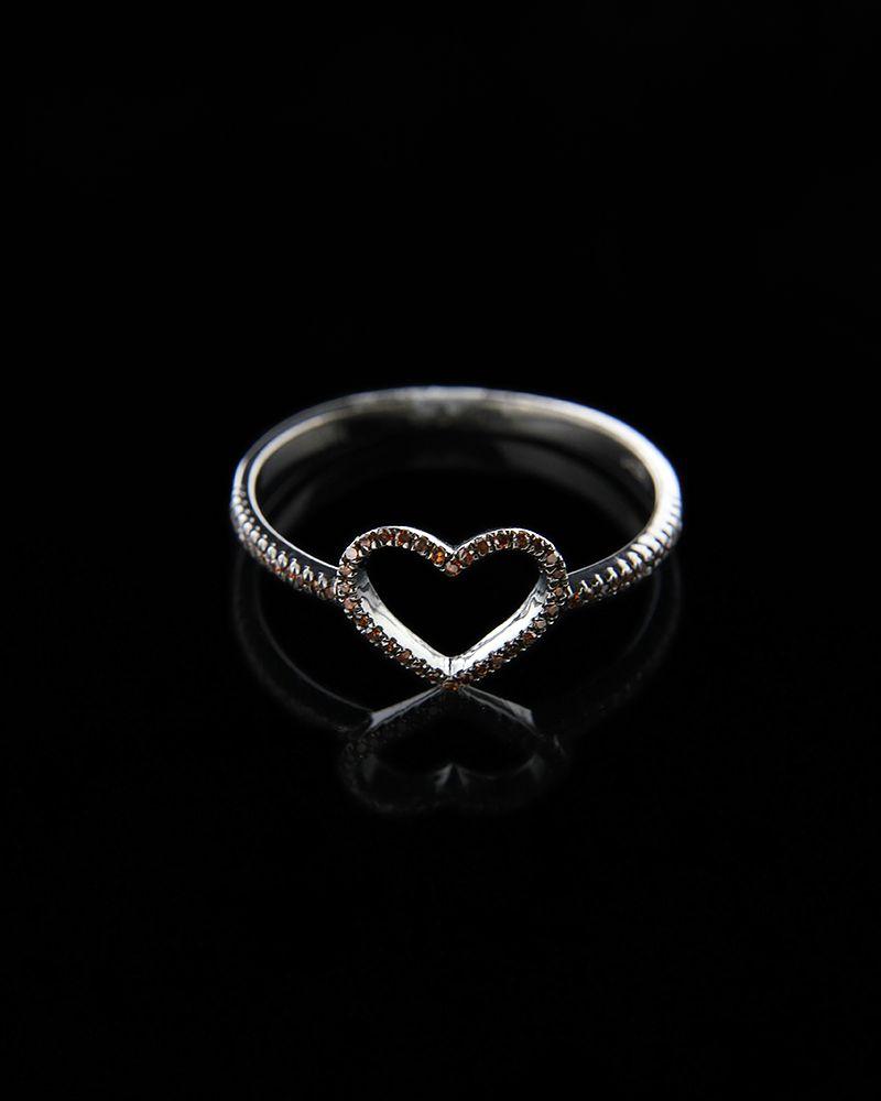 Δαχτυλίδι λευκόχρυσο Κ14 με Διαμάντια Brown   γυναικα κοσμήματα με καρδιές