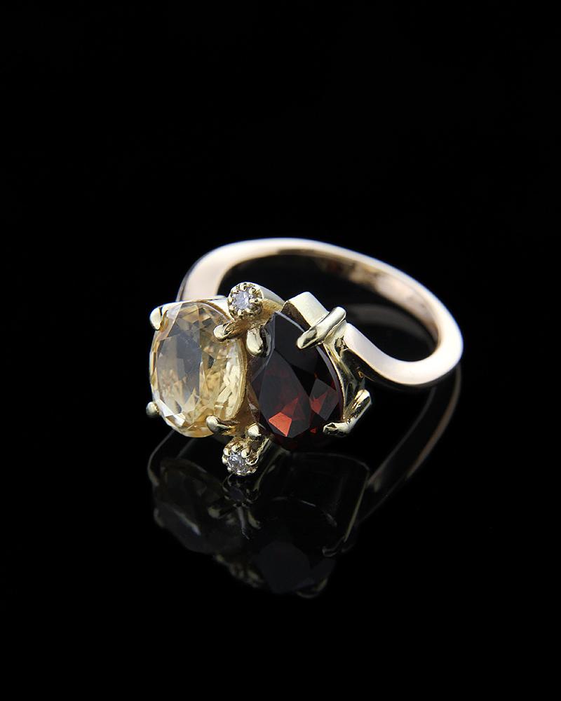 Δαχτυλίδι από χρυσό Κ18 διακοσμημένο με Γρανάδα και Citrine   γυναικα δαχτυλίδια δαχτυλίδια ημιπολύτιμοι λίθοι