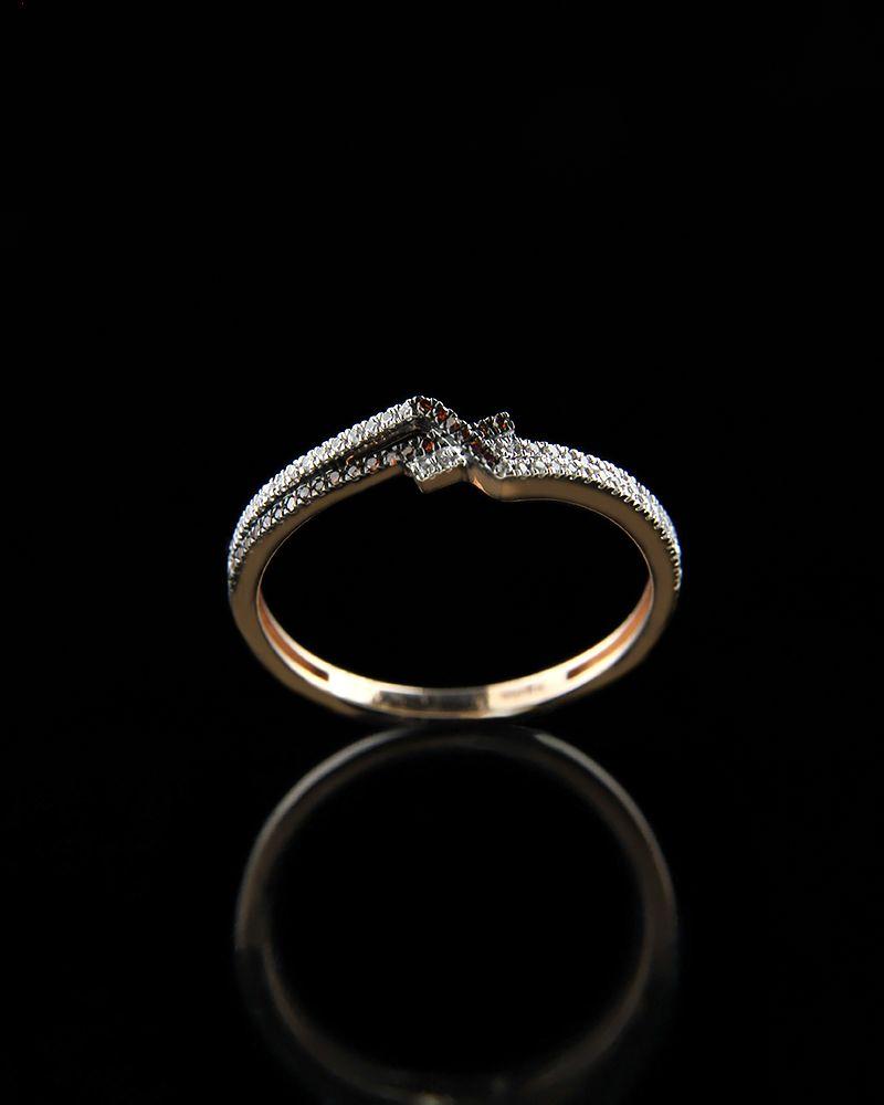 Δαχτυλίδι ροζ χρυσό Κ14 με Διαμάντια   γυναικα δαχτυλίδια δαχτυλίδια ροζ χρυσό