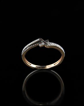 Δαχτυλίδι ροζ χρυσό Κ14 με Διαμάντια 8739e9a3f55