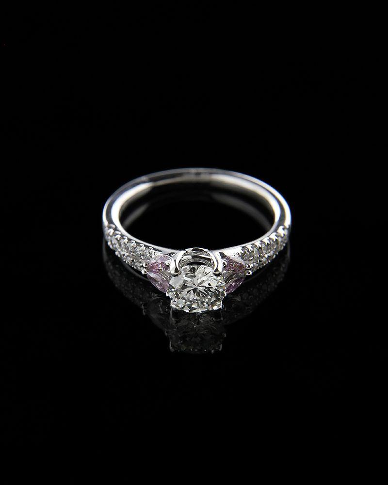 Δαχτυλίδι μονόπετρο λευκόχρυσο Κ18 με Διαμάντια και Αμέθυστο   γυναικα δαχτυλίδια δαχτυλίδια λευκόχρυσα
