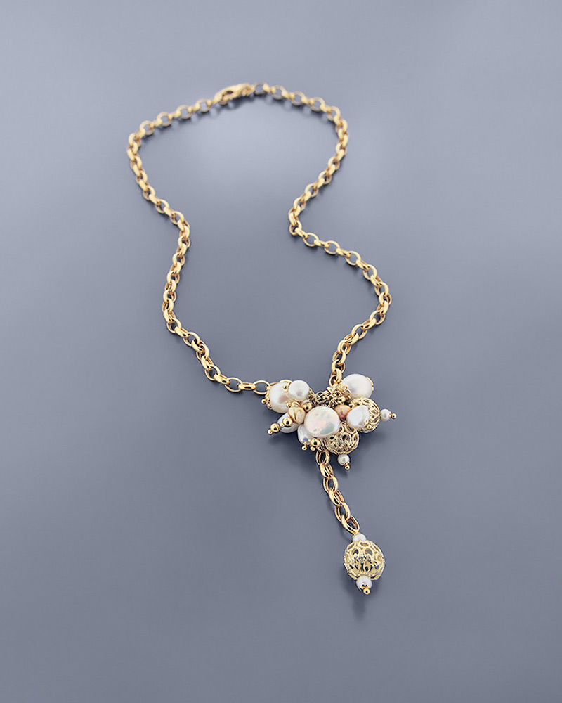 Kολιέ χρυσό Κ18 με μαργαριτάρια και φίλντισι   κοσμηματα κρεμαστά κολιέ κρεμαστά κολιέ ημιπολύτιμοι λίθοι