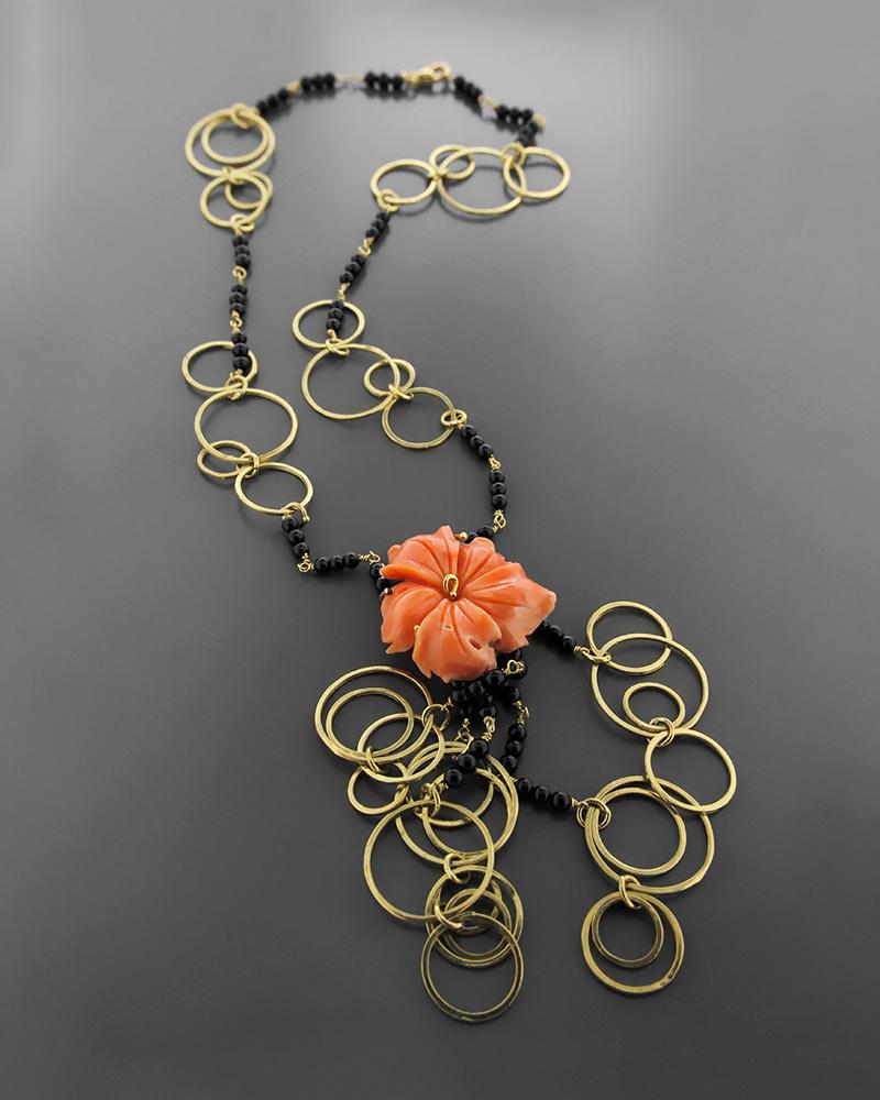 Kολιέ χρυσό Κ18 με κοράλλι και όνυχα   κοσμηματα κρεμαστά κολιέ κρεμαστά κολιέ ημιπολύτιμοι λίθοι