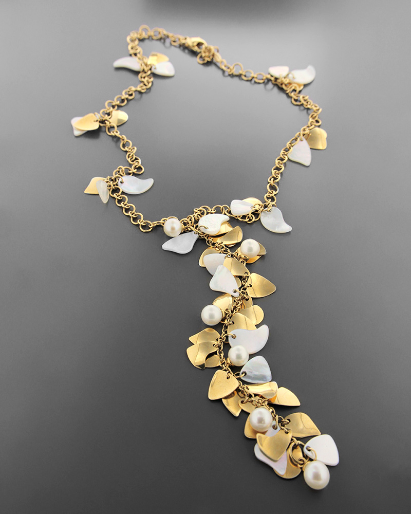 Kολιέ χρυσό Κ18 με φίλντισι και μαργαριτάρια   κοσμηματα κρεμαστά κολιέ κρεμαστά κολιέ ημιπολύτιμοι λίθοι