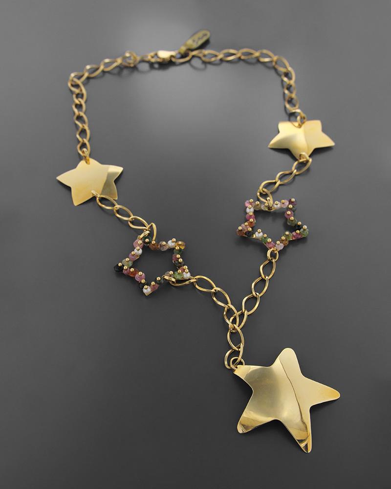 Kολιέ αστέρια χρυσό Κ18 με ημιπολύτιμους λίθους   κοσμηματα κρεμαστά κολιέ κρεμαστά κολιέ ημιπολύτιμοι λίθοι