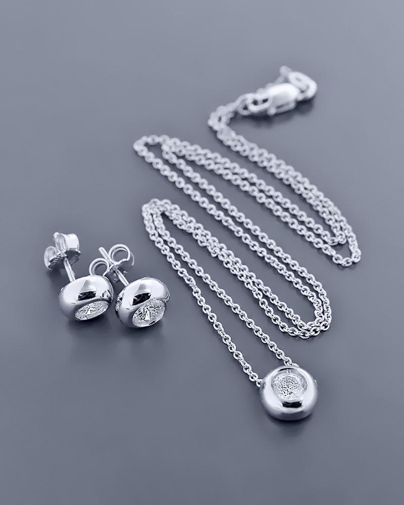 Γυναικείο σετ λευκόχρυσο Κ18 με ζιργκόν   γαμοσ σετ κοσμήματα