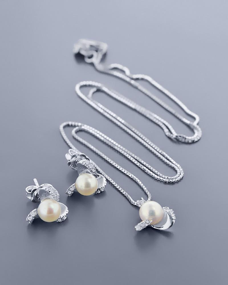 Γυναικείο σετ λευκόχρυσο Κ18 με μαργαριτάρια και ζιργκόν   γαμοσ σετ κοσμήματα