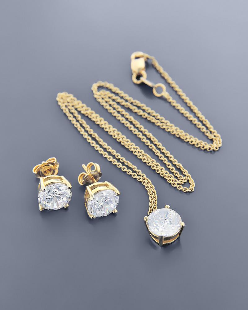 Γυναικείο σετ χρυσό Κ18 με ζιργκόν   γαμοσ σετ κοσμήματα