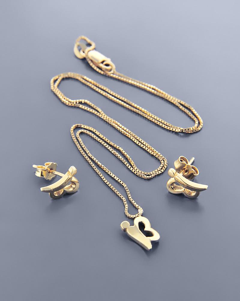 Γυναικείο σετ πεταλούδες χρυσό Κ14 με ζιργκόν   γαμοσ σετ κοσμήματα