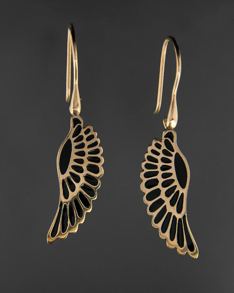Σκουλαρίκια φτερό ασημένια 925 με σμάλτο   κοσμηματα σκουλαρίκια σκουλαρίκια fashion