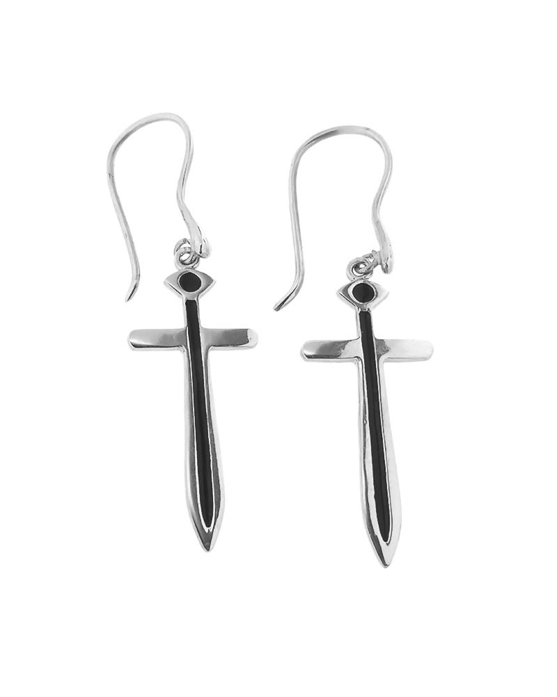 Σκουλαρίκια σπαθί ασημένια 925 με σμάλτο   κοσμηματα σκουλαρίκια σκουλαρίκια fashion
