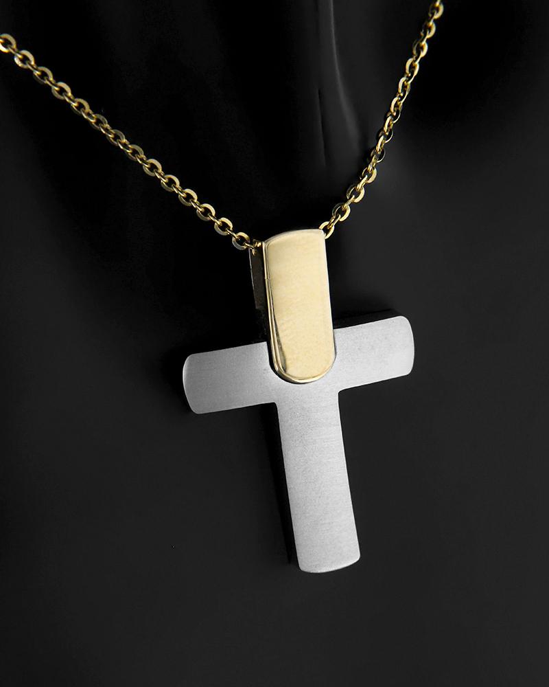 Σταυρός λευκόχρυσος και χρυσός Κ14   παιδι βαπτιστικοί σταυροί βαπτιστικοί σταυροί για αγόρι