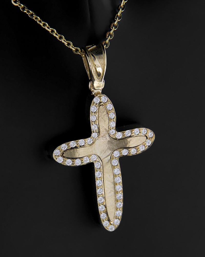 Σταυρός χρυσός Κ14 με ζιργκόν   γυναικα σταυροί σταυροί χρυσοί