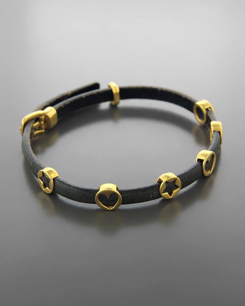 Βραχιόλι χρυσό Κ18 με μοτίφ   κοσμηματα βραχιόλια βραχιόλια δέρμα καουτσούκ