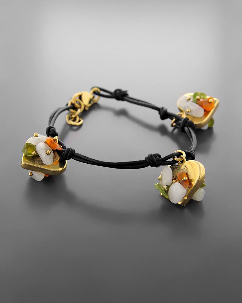 Βραχιόλι καρδιές χρυσό Κ14 με ημιπολύτιμους λίθους   κοσμηματα βραχιόλια βραχιόλια ημιπολύτιμοι λίθοι