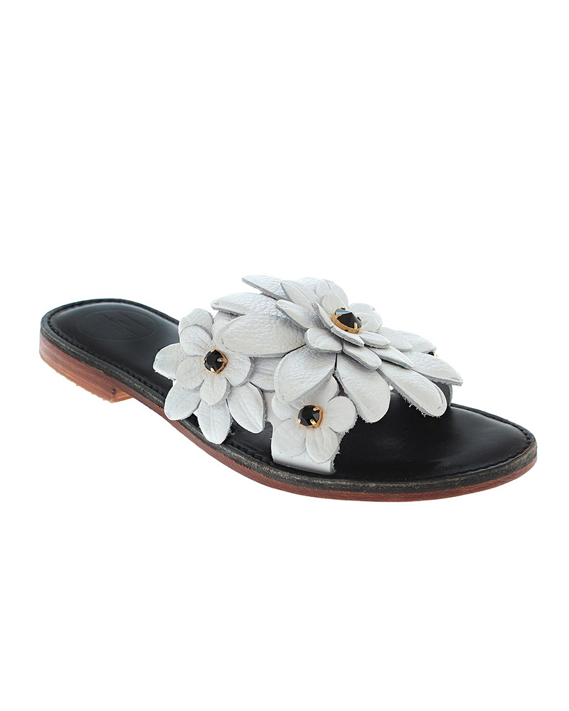 Lefkothea handmade flat sandals with flowers SAN04W-2NFW-SWB   γυναικα luxury sandals