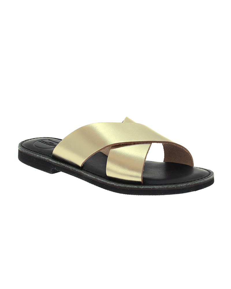 Cyclades handmade flat leather sandals SAN04N-NCROSS-G   γυναικα luxury sandals
