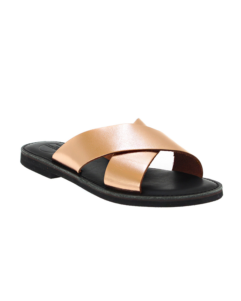 Cyclades handmade flat leather sandals SAN04N-NCROSS-RG   γυναικα luxury sandals