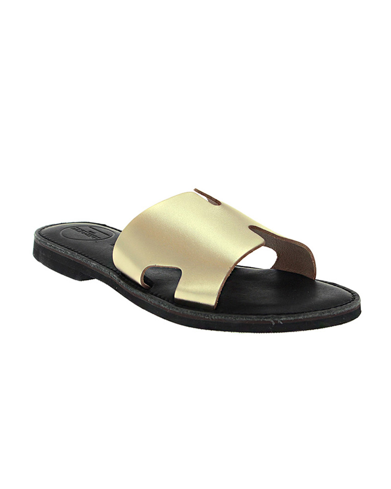 Cyclades handmade flat leather sandals SAN04N-NHERM-G   γυναικα luxury sandals