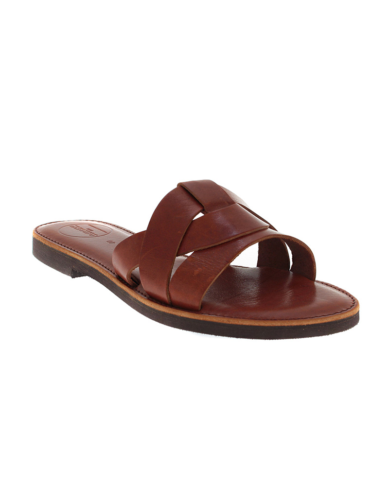 Cyclades handmade flat leather sandals SAN04N-NTHREE-BR   γυναικα luxury sandals