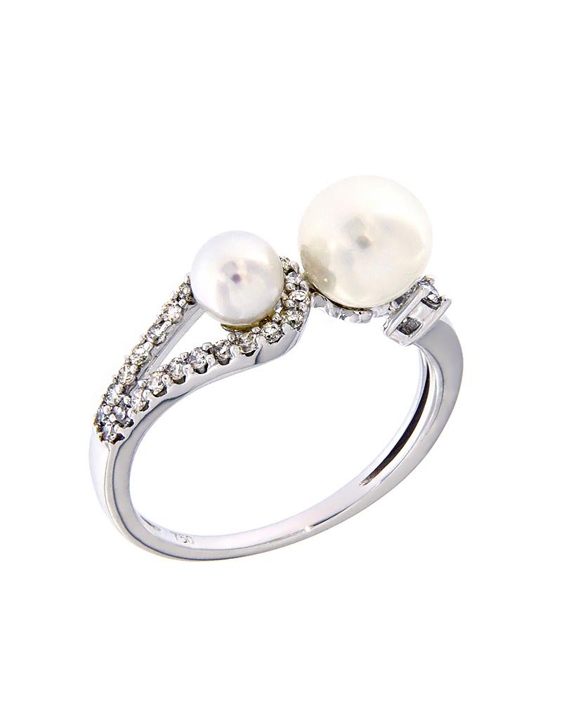 Δαχτυλίδι λευκόχρυσο Κ18 με Διαμάντια και Μαργαριτάρια   γυναικα δαχτυλίδια δαχτυλίδια διαμάντια