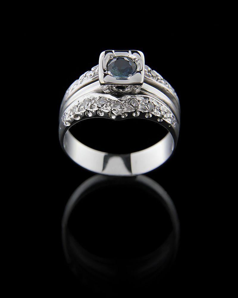 Δαχτυλίδι λευκόχρυσο Κ18 με Διαμάντια και Ζαφείρι