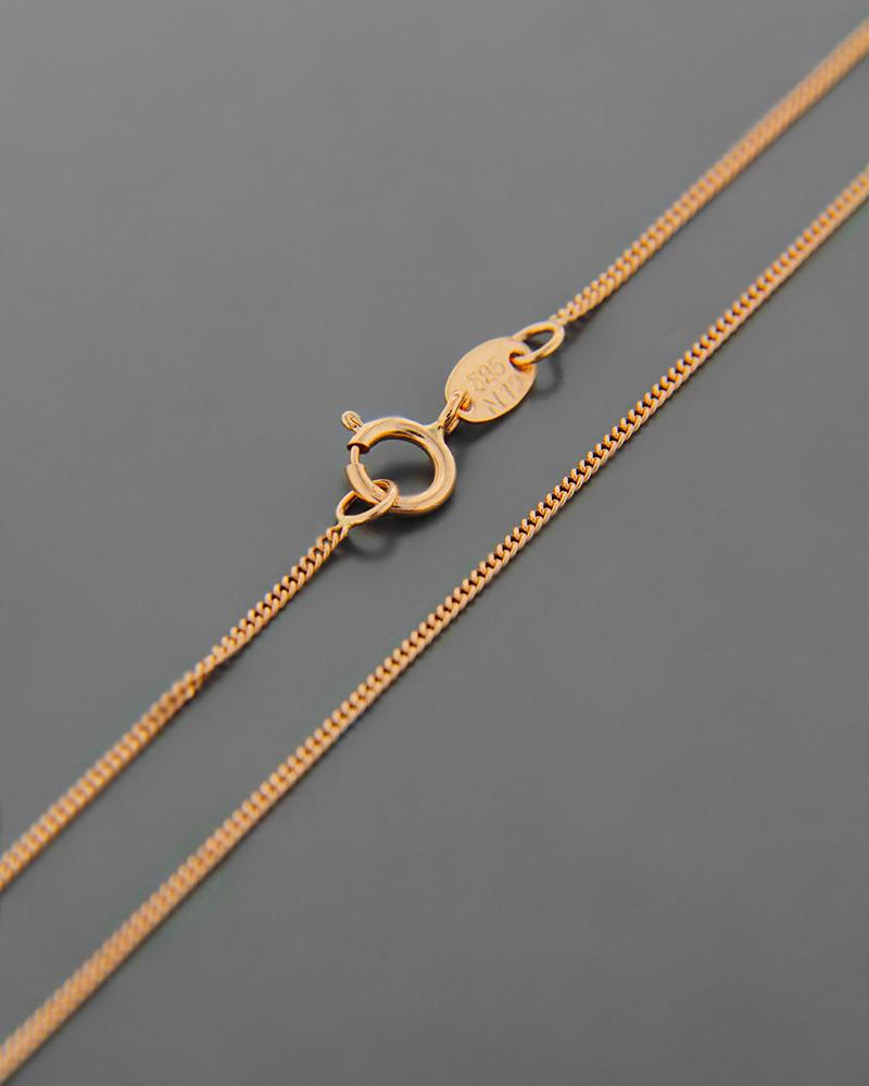 Αλυσίδα λαιμού ροζ χρυσή Κ14 40 cm   γυναικα αλυσίδες λαιμού αλυσίδες ροζ χρυσό