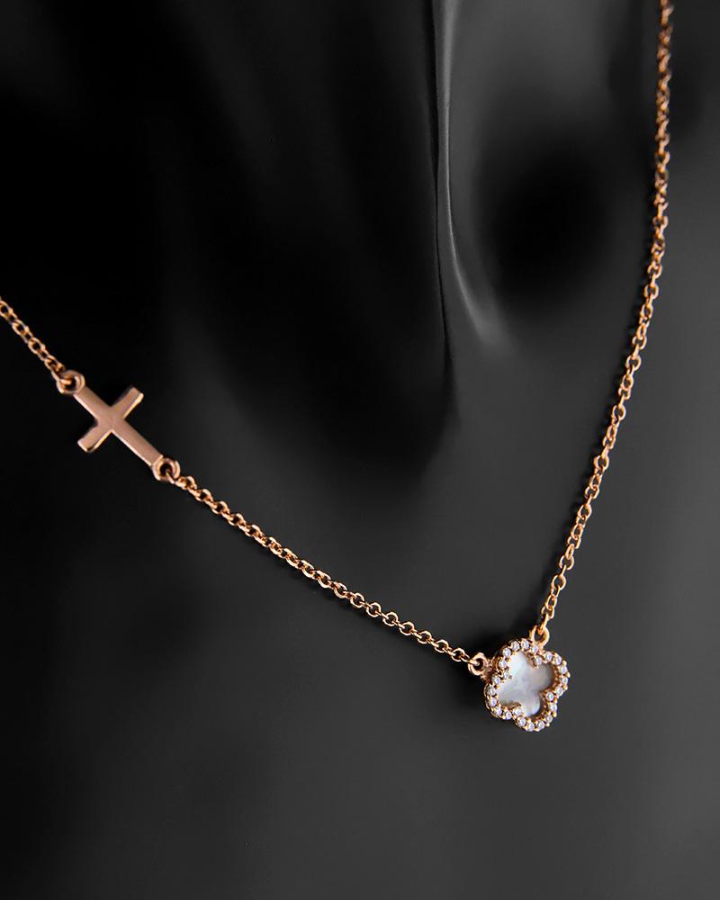 Κολιέ ροζ χρυσό Κ14 με φίλντισι και ζιργκόν   γυναικα κρεμαστά κολιέ κρεμαστά κολιέ ροζ χρυσό