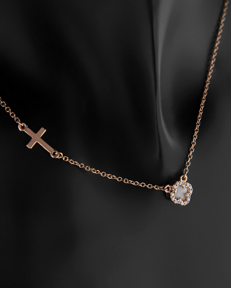 Κολιέ σταυροί ροζ χρυσό Κ9 με φίλντισι και ζιργκόν   γυναικα κρεμαστά κολιέ κρεμαστά κολιέ ροζ χρυσό