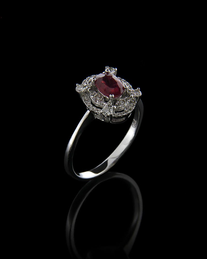Δαχτυλίδι λευκόχρυσο Κ18 με Διαμάντια και Ρουμπίνι ... 9e6ea88cd55
