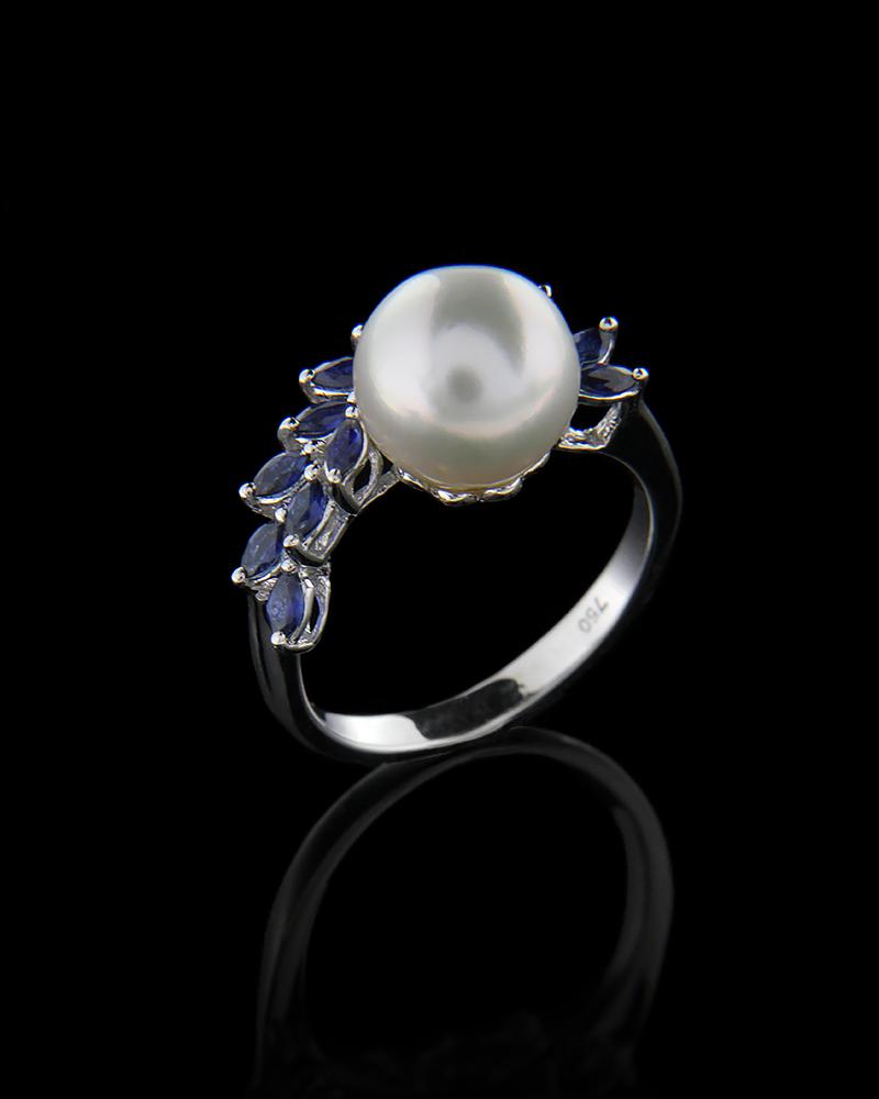 Δαχτυλίδι λευκόχρυσο Κ18 με Ζαφείρια και Μαργαριτάρι   γυναικα δαχτυλίδια δαχτυλίδια με μαργαριτάρια