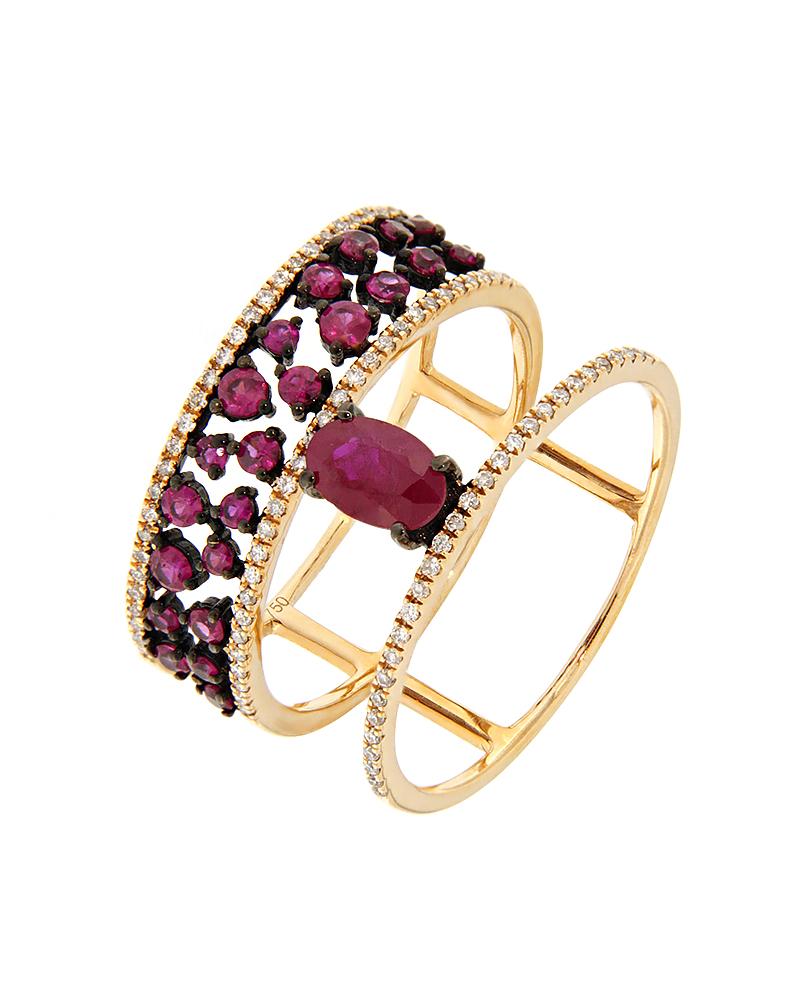 Δαχτυλίδι ροζ χρυσό Κ18 με Διαμάντια και Ρουμπίνια   γυναικα δαχτυλίδια δαχτυλίδια ροζ χρυσό