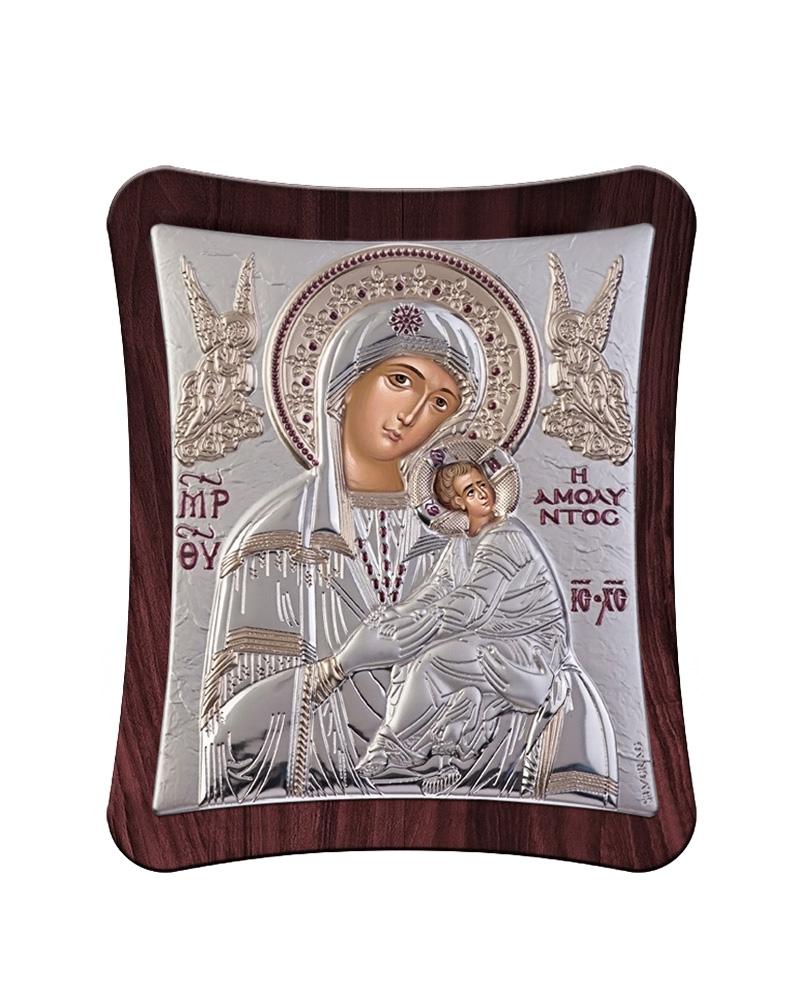 Εικόνα Παναγία Αμόλυντος με ξύλινη μπορντούρα   δωρα εικόνες